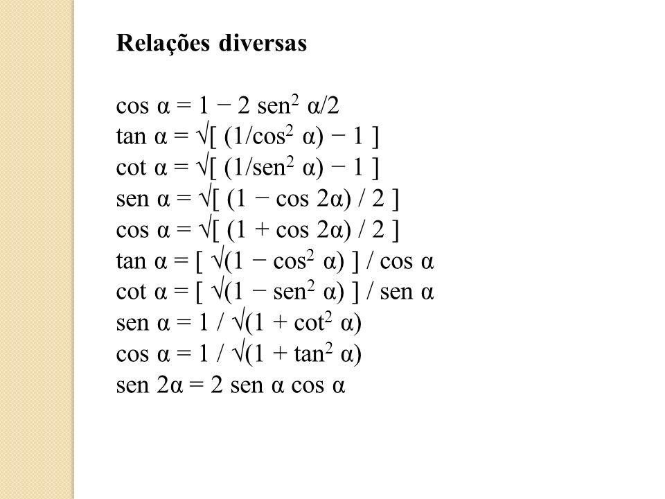 Relações diversas cos α = 1 − 2 sen2 α/2. tan α = √[ (1/cos2 α) − 1 ] cot α = √[ (1/sen2 α) − 1 ]